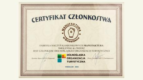 Certyfikat członkostwa wDolnośląskiej Organizacji Turystycznej